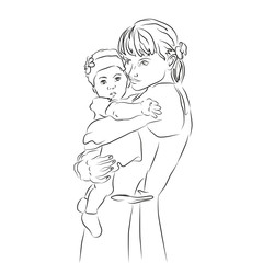 A young mother with a baby in her arms. Healthy Family.