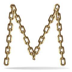 Golden Letter M, made with chains