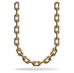 Golden Letter U, made with chains