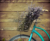Vintage bycicle with basket with lavender