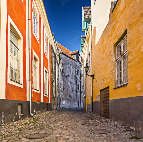 Tallinn, Estonia Alleyway on Toompea Hill