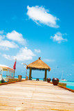 Wooden wharf with pavilion for ships at Maldives