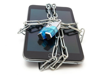 mobile security with mobile phone and lock