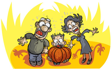 Halloween shocked family.