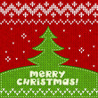 Green knitted Christmas tree applique background
