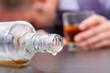 Leinwanddruck Bild - Uncontrolled consumption of alcohol