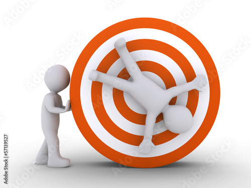 Person pushing another who is at the center of target