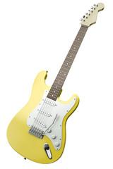 Yellow guitar, 3D render