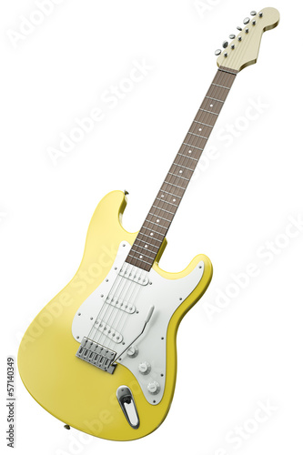 Yellow guitar, 3D render