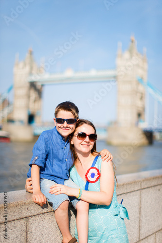 Mother and son in London