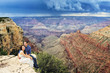 A couple on a honeymoon trip at Grand Canyon, Arizona