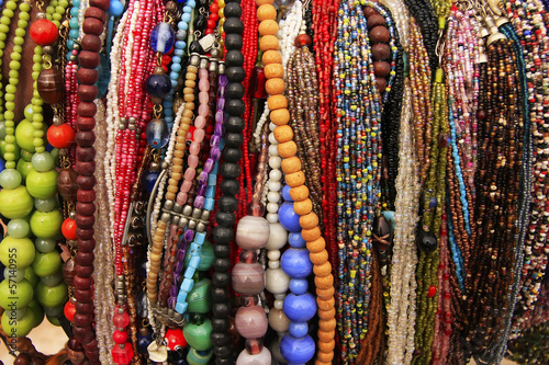 Aluminium Delhi Display of colorful beads necklaces, New Delhi