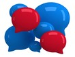 Group of 3d blank speech bubbles