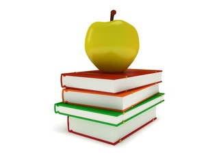 Multicolored book tower with yellow apple