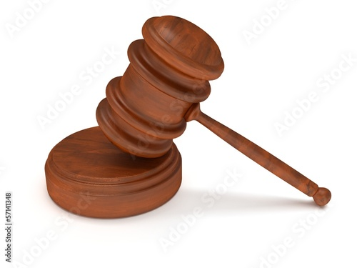 3D Wooden gavel. Judge, Law, Auction concept