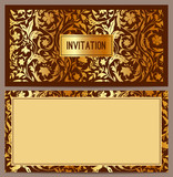 Horizontal luxury invitation with a pattern of golden flowers