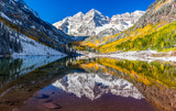 winter and Fall foliage in Maroon Bells, Aspen, CO