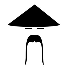 asian man wearing traditional conical hat