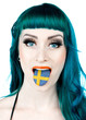 woman with tongue in shape of swedish flag