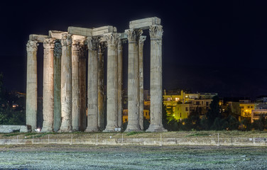 Temple of Olympian Zeus at night, Athens, Greece