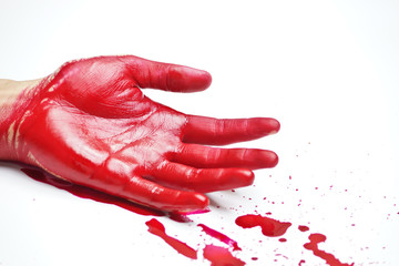 bloody hand with blood drops