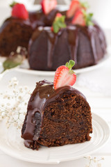 Chocolate cake with strawberries and chocolate.