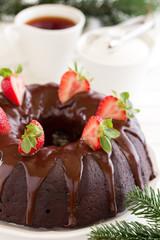 Chocolate cake with strawberries and chocolate.