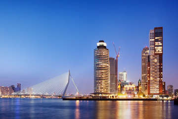 City of Rotterdam Skyline in the Evening