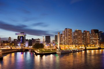 Rotterdam Skyline at Night in Netherlands