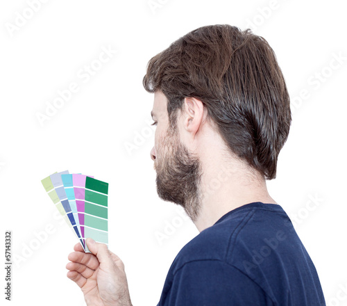 Man with color samples isolated on white - renovation