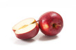 Several red apples on white background