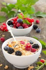 breakfast - muesli with berries, milk, selective focus.