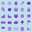 Finance violet icons on blue background