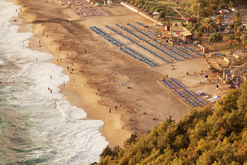 Aerial view of Kleopatra beach in Alanya, Turkey.