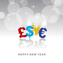 Happy New Financial Year color currency vector
