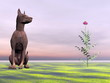 Doberman dog next to beautiful flower - 3D render