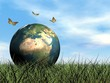 Butterflies protecting earth - 3D render