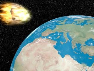 Meteorite going to earth - 3D render