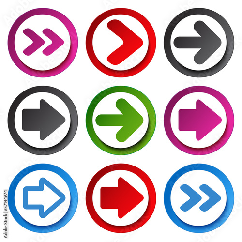 Vector color arrow  - circular buttons