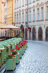 Street cafe in historical district of Prague,Czech Republic