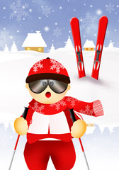 skier cartoon