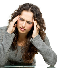 Woman having Headache. Sick