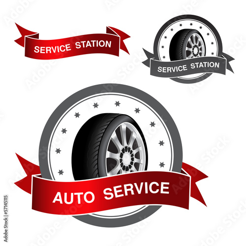 Vector symbol of auto service - sign, icon, sticker