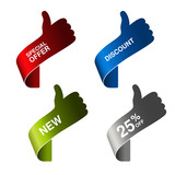 Vector hand gesture - special offer, discount, new, 25 off