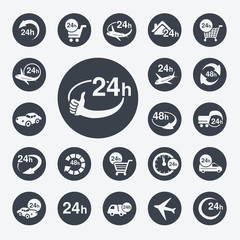 Vector symbols - delivery of purchase within 24 or 48 hours