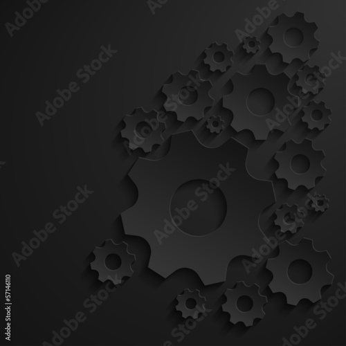 Paper gears on dark background. Vector illustration
