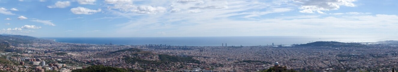 Panoramic view to Barcelona, Spain in the sunny summer day