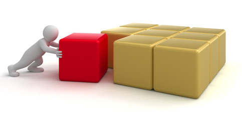 Man push red box (clipping path included)