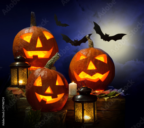 pumpkins and vampire - bat