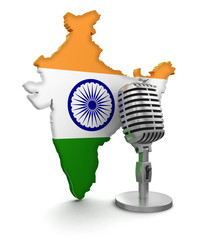 Microphone and India (clipping path included)